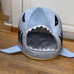 Plush shark cat bed